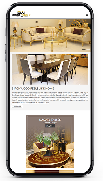 Mobile responsive website design with a Luxury Color Scheme