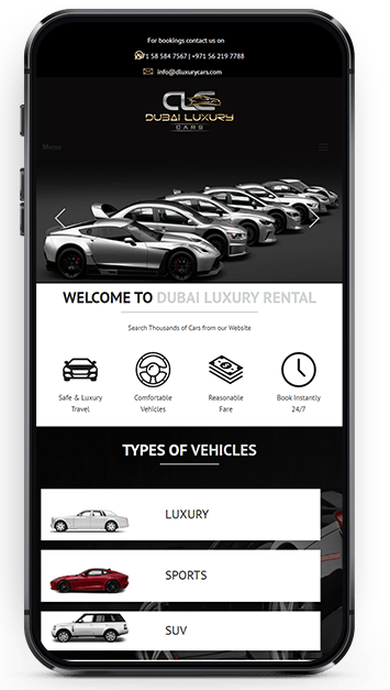 Mobile Friendly Layout Design for Dubai Luxury Car Rental