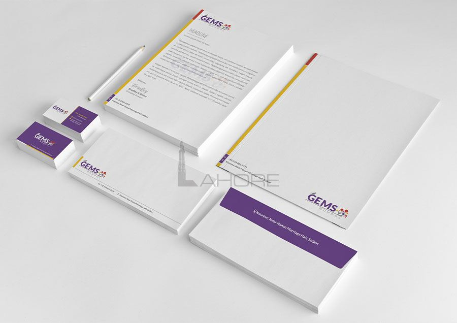 Gems School Stationery Design