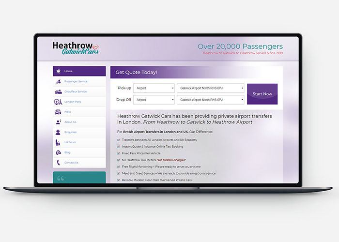 Website for Heathrow Gatwick Cars Design