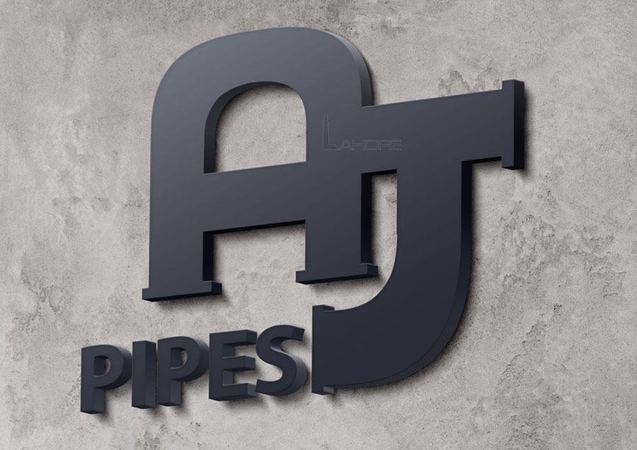 Realistic 3d logo on wall