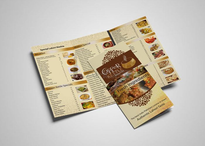 Copper Kettle Restaurant  Menu Design Design