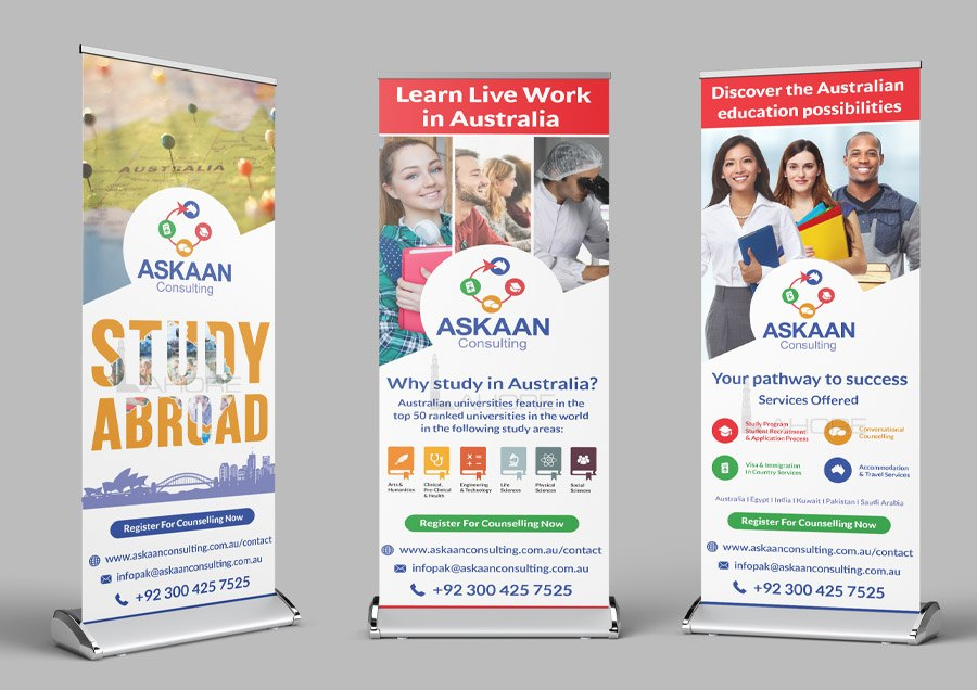 Student Immigration Company Roll Up Standee Design