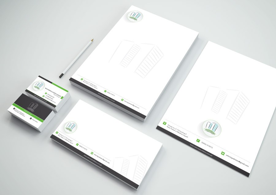 Velocity Builders Stationery Mockup Design